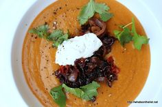 Moroccan Lentil Soup with Creme Fraiche & Chili Fried Onion by @mickeydownunder