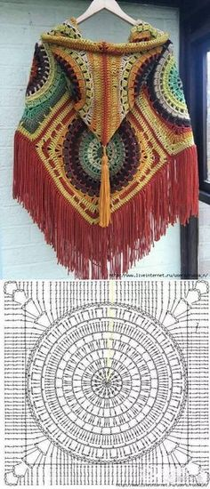 Crochet Granny Square Poncho Beautiful New Ideas Poncho Crochet, Crochet Mandala, Crochet Granny, Crochet Motif, Diy Crochet, Crochet Stitches, Crochet Hooks, Bohemian Crochet Patterns, Crochet Ideas