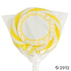 Personalized Yellow Gingham Swirl Pops, Suckers/Pops, Candy, Party Themes & Events - Oriental Trading