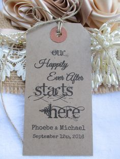 Our Happlily Ever After Starts Here-Wedding Rehearsal Dinner Hang Tags - Party Favor Cards- Wedding Favors by TheIvoryBow on Etsy