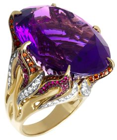 """Dazzle of the East"" Gold, Amethyst, Diamonds and Rubies ring............ ""The Treasure House"" presents the jewelry collection ""Dazzle of the East"". Enjoy the combination of noble metal and Amethyst with its mystically purple color, a red Kunzite, sunny glitter of a Citrine, sparks of a Sapphire and the warm of a red Ruby… Most of these gems are imported in Russia from neighboring southeastern countries. That is the reason why we named this collection ""Dazzele of the East"""