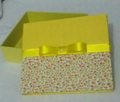 Caixa decorado com tecido em mdf
