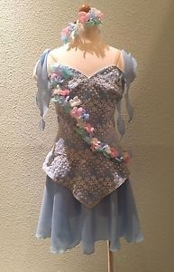Professional-Cupid-Light-Blue-Fairy-Ballet-Dress-Flowers-Lace-Costume-Bust-29-30