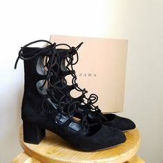 36874723589251 Rare Zara ankle lace up velvet boots. Black combo. Size 37 euro   6.5 us.  Click for more or download the Vinted app!