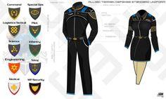 ATD Space Military Uniform by Apocryphea on DeviantArt Star Trek Uniforms, Police Uniforms, Navy Uniforms, Science Fiction, Scuba Diving Suit, Navy Blue Uniform, Pilot Uniform, School Uniform, Uniform Design