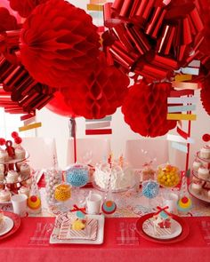Red hot party decor from Martha Stewart.