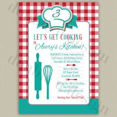 COLOR OPTIONS - Little Chef's Cooking Party - Printable Birthday Invitation