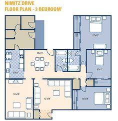 NAS JRB Fort Worth – Nimitz Neighborhood: 3 bedroom home floor plan