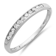 020 Carat ctw 10K White Gold Round Diamond Anniversary Wedding Band Stackable Ring -- Learn more by visiting the image link.