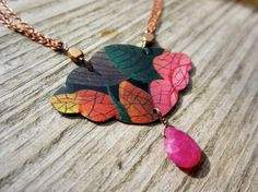 Rose Garden Recycled Tin Necklace made with by SaffronCreations, $54.00