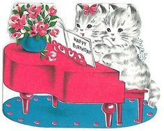 Happy Birthday Pink Piano Kittens