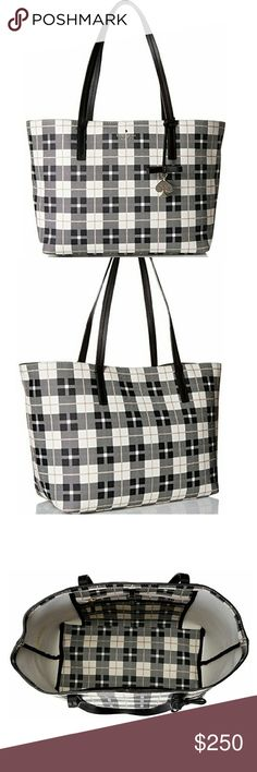 """ONE HOUR SALE! Kate Spade Plaid Shoulder Tote Gorgoeus, simple, classy shoulder tote from kate spade new york. Big enough to fit everything you need yet still elegant and sleek! Measurements: 10"""" high, 12.5"""" long, 6"""" wide, 9.5"""" shoulder drop. kate spade Bags"""