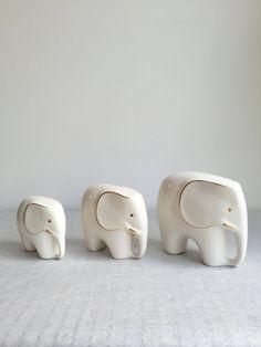 Vintage elephant set of three China mid century modern by moovi