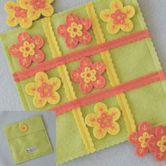 Tic Tac Toe in a pouch...w/different colored flowers! Also avail in x's and o's but I love the flowers. Sierra loves it too!