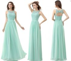Graceful Mint Green Bridesmaid Dresses Open Back Sleeveless Long Lace&Chiffon Party Dress 2015 New Arrival Prom Gowns(China (Mainland))