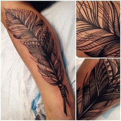 tattoo by Katie Shocrylas, Vancouver, Canada | feather tattoos