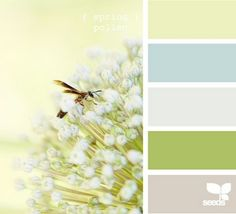 Spring colors…fresh greens, creams, whites, taupes
