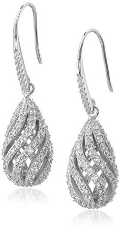 Sterling Silver 21mm Cubic Zirconia Teardrop Cage Drop Earrings * Check out the image by visiting the link.