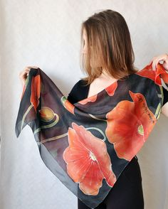 Hand painted silk scarf with poppies on a by KatarzynaKaMaART, $67.00