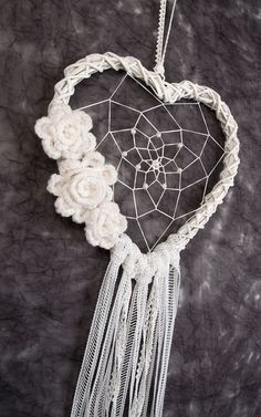 White Heart Dream Catcher wedding decor wedding decorations white dreamcatcher…