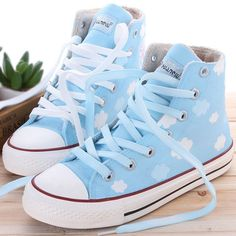 Harajuku students clouds hand painted canvas shoes