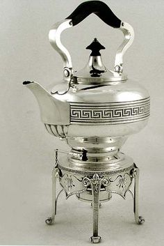 Tiffany & Co Greek Revival style sterling silver kettle on stand, with a Greek key motif, c1856 (supershrink)