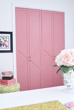 DIY Coral U0026 Glam Bi Fold Closet Door Makeover Tutorial