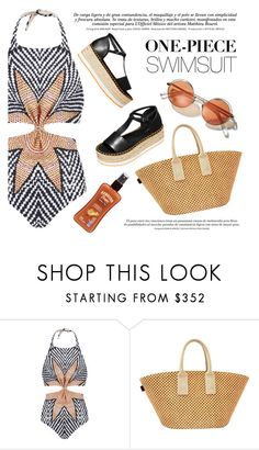 """""""One-Piece Swimsuit"""" by fattie-zara ❤ liked on Polyvore featuring Mara Hoffman, H&M, Hermès, Hawaiian Tropic and onepieceswimsuit"""