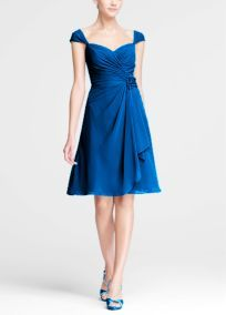 Chiffon Sweetheart w/cap sleeves - in Horizon Blue