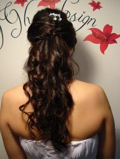 Long hair half up do