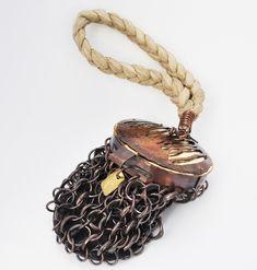 Todd Conover Chain Mail Bag 2013 copper, gold leaf, silk
