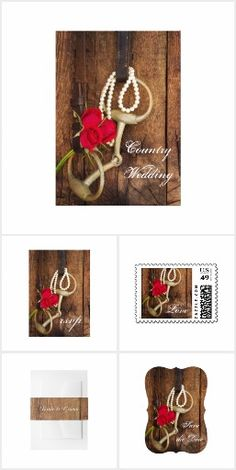 Set the tone for your casual yet classy marriage ceremony and reception with the charming Roses, Horse Bit and Barn Wood Western Wedding Invitations, Save the Date Announcements, Thank You Cards and Postage Stamps. This coordinated rustic country wedding collection features a quaint floral photograph of a horse bit with leather reins, white pearl necklace and red rose flower blossoms with a weathered barnwood background. #westernwedding #barnwedding