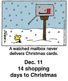 - 14 shopping days to Christmas Days To Christmas, Peanuts Christmas, Christmas Cartoons, Charlie Brown Christmas, Charlie Brown And Snoopy, Christmas Countdown, Christmas Humor, Christmas Mail, Christmas Morning