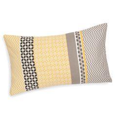 Fodera di cuscino in cotone gialla/grigia 30 x 50 cm SUNNY
