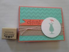 The 2013-2015 In Colors are a Sher-Bet for Summer! Happy Hour stamp set, Coastal Cabana, Crumb Cake & Calypso Coral cardstock & ink