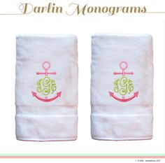 Monogram Hand Towels Pair by DarlinMonograms on Etsy Monogrammed Beach Towels, Anchor Monogram, Embroidery Monogram, Hand Towel Sets, Lilly Pulitzer, Monograms, Handmade Gifts, College Life, Dorm Room