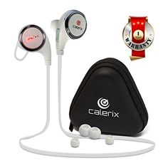 Bluetooth Headphones 4.1 Wireless Calerix, with Sweat Proof, Noise Cancelling Technology - Lightweight Sport In-Ear Earbuds with Built-In Microphone - Connect to iPhone iOS, Samsung (White) >>> Read more reviews of the product by visiting the link on the image.