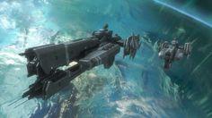 Two UNSC Paris-class frigates orbiting Reach