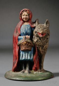 Tope para puerta en hierro fundido: Caperucita roja y el lobo   -   Little Red Riding Hood Cast Iron Doorstop