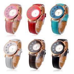 Diamand Design Damen Uhr Armbanduhr Quarzuhr mit PU-Armband