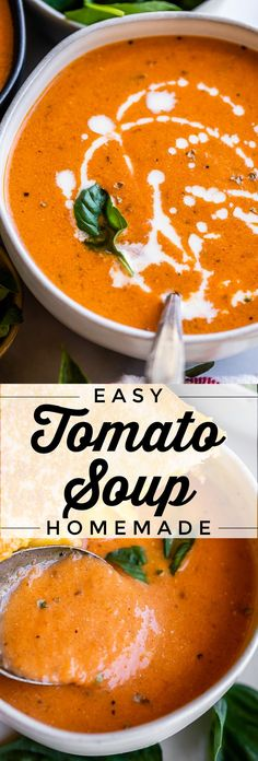Easy Homemade Tomato Soup (30 Minutes) from The Food Charlatan. Learn how to make easy Homemade Tomato Soup! Say goodbye to the can. We are using a different set of cans (canned tomatoes) to make a much more flavorful soup! This recipe results in a creamy, smooth, and rich soup. It comes together so fast! Make a few grilled cheese sandwichesand dinner's done! #tomato #soup #easy #recipe #creamy #cannedtomatoes #homemade #grilledcheeseand #canned #healthy #best #howtomake #creamof #quick #simple Easy Homemade Tomato Soup, Canned Tomato Soup, Tomato Soup Recipes, Simple Tomato Soup, Fresh Tomato Soup, Tomato Soup Recipe With Milk, Tomatoe Soup Easy, Recipes With Evaporated Milk, Healthy Tomato Soup Recipe