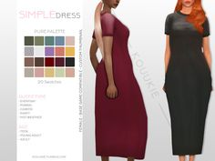 *cries in simlish* — Simple Dress Information: Base game compatible Sims 4 Clothing, Female Clothing, Sims 4 Mm, Sims 4 Custom Content, Perfect For Me, Simple Dresses, Swatch, Maxis, Pure Products