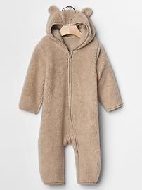 Sherpa zip bear hoodie one-piece Product Image