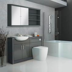 Fitted bathroom furniture can be a fantastic design feature for many bathrooms. Fitted bathroom furniture can also become a great investment. Complete Bathrooms, Large Bathrooms, Small Bathroom, Bathroom Ideas, Fitted Bathrooms, Family Bathroom, Bathroom Designs, White Bathroom, Loft Bathroom