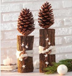 pine cones // winter // wood // stars
