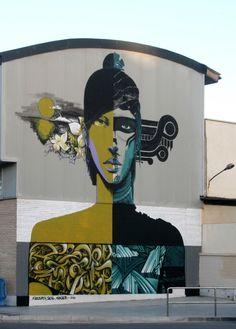 """""""Interior Warrior"""" by Firebirth, Seal and Kraser. Street art in Cartagena, Spain."""