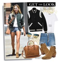 """""""Get the look: Hailey Baldwin"""" by hamaly ❤ liked on Polyvore featuring MANGO and Yves Saint Laurent"""