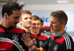 Mats Hummels (L) and Bastian Schweinsteiger of Germany shake hands in the tunnel prior to the 2014 FIFA World Cup Brazil Group G match between USA and Germany at Arena Pernambuco on June 26, 2014 in Recife, Brazil.