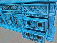 Cobalt Blue Vintage Dresser/ Buffet Bedroom by AquaXpressions,