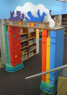 Childrens Library Design by Janice Davis at Corofl School Building Design, School Library Design, Kids Library, Library Ideas, Daycare Design, Kindergarten Design, School Murals, Library Furniture, Home Daycare